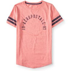 Aeropostale 19 Aéropostale 87 Arch Graphic T ($6) ❤ liked on Polyvore featuring tops, t-shirts, electric pink neon, red tee, aeropostale t shirts, cotton tee, curved hem tee and striped t shirt