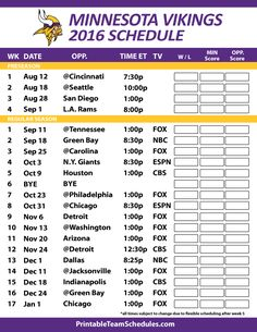 Minnesota Vikings Schedule 2016
