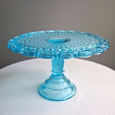 Victorian Blue Glass Cake Stand Thousand Eye Pattern Adams 1870s EAPG.