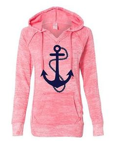 Women's Burnout V Notch Deep Coral Anchor Hoodie long sleeve Sweatshirt Anchor
