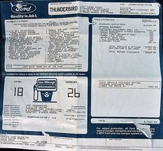 1987 Ford Thunderbird Turbo Coupe: $17,287 USD. Includes $1,154 Preferred Equipment Package 157 (stereo cassette, 6-way power drivers, more). Concept Board, Ford Thunderbird, Window Stickers, Cutaway