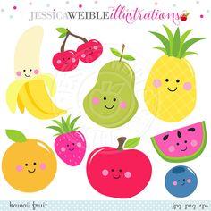 Kawaii Fruit Cute Digital Clipart, Cute Fruit Clip Art, Smiling Fruit Clipart…