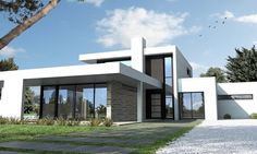 Ultra modern black and white house Nantes Modern Architecture House, Architecture Design, Style At Home, Cheap Houses To Build, Modern House Floor Plans, House Construction Plan, Best Modern House Design, Facade House, Home Design Plans