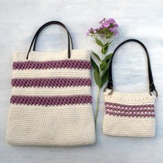 ** This Listing is for Crochet Patterns Only **  The Red Clover Summer Tote and Red Clover Mini Tote - 2 coordinating tote bag crochet patterns  Crochet…
