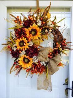 fall wreath . . . LOVE! Thanksgiving Wreaths, Autumn Wreaths, Thanksgiving Decorations, Holiday Wreaths, Fall Door Decorations, Fall Decor, Wreath Crafts, How To Make Wreaths, Fall Crafts