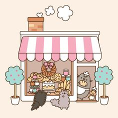 """PUSHEEN GIF:  Pusheen the Cat at the bakery.   (""""=^● ⋏ ● ^= Meow! I am Pusheen the cat. This is my blog."""")              NOTE: PRESS """"VISIT"""" TO SEE 4 MORE GIFS + 1 VIDEO CLIP IN THIS COLLECTION.                NTS: I pinned all the GIFs in the collection. (The video clip isn't offered for pinning.)"""