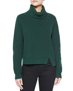 Asymmetric-Slit Cashmere-Blend Turtleneck Sweater, Dark Green - Proenza Schouler