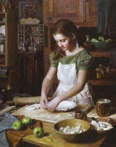Iman Maleki painting Girl making an apple pie