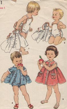 UNCUT 1950's Toddler's Playsuit Dress and Jacket Brother by HelaQ,