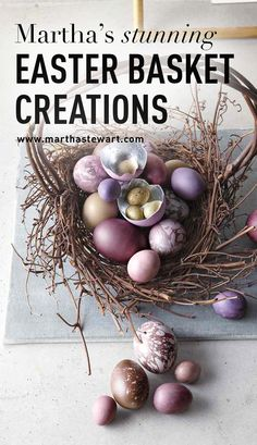 Martha's Stunning Easter Basket Creations | Martha Stewart Living - For years Kevin Sharkey has been crafting original Easter baskets for Martha. Get inspired by his most stunning creations, featuring shimmering eggs, velveteen rabbits, gilded flowers and more.