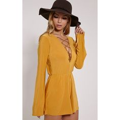 Talma Mustard Lace Up Slinky Playsuit ($13) ❤ liked on Polyvore featuring jumpsuits, rompers, yellow, yellow rompers, boho rompers, mustard romper, boho romper and lace up romper