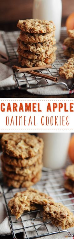 Caramel Apple Oatmeal Cookies from Some the Wiser apple recipes Caramel Recipes, Apple Recipes, Sweet Recipes, Baking Recipes, Cookie Recipes, Dessert Recipes, Fall Recipes, Bread Recipes, Apple Oatmeal
