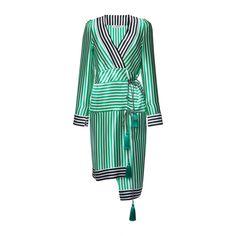 Etro     Anise Dress ($2,005) ❤ liked on Polyvore featuring dresses, stripe, white v neck dress, silk dress, wrap dress, v neck wrap dress and white dress
