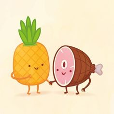 my sis and i got Pineapple and Ham! A superb combination. One of you is sweet while the other is savory — and you two leave a lasting impression on everyone who meets you.Which Adorable Food Pair Are You And Your Best Friend?
