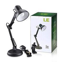 LE® Swing Arm Desk Lamp, C-Clamp Table Lamp, Flexible Arm, Replaceable Bulb, Classic Architect Clamp-on Desk Lamp, Black Painted Lamp