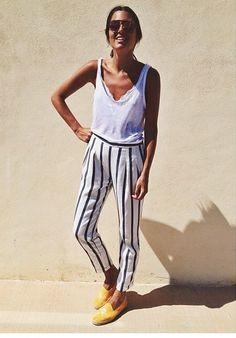 5 ways to wear striped pants and looking like like wearing pajamas