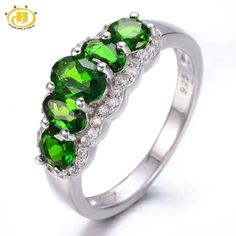 Special price HUTANG 1.935ct Natural Chrome Diopside & Diopside Solid 925 Sterling Silver Ring Gemstone Fine Jewelry Women's Christmas Gift   just only $69.99 with free shipping worldwide  #finejewelry Plese click on picture to see our special price for you