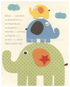 Nursery wall art print, Baby Room Decor, elephant ...Before you were born, red, blue, green, yellow, orange, brown, gender neutral nursery