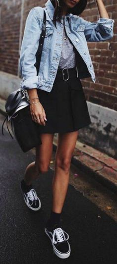 Denim jacket + mini skirt + leather belt