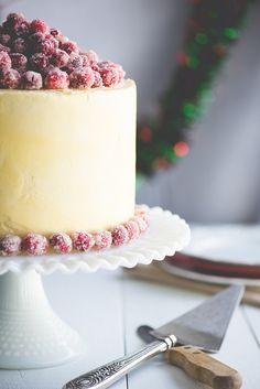 {Nosh} Christmas White Chocolate Cranberry Layer Cake