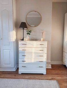 White Bedroom Decor, Gold Bedroom, Teen Bedroom, Dream Bedroom, Apartment Goals, Apartment Ideas, Tall White Dresser, Tall Nightstands, White Rooms