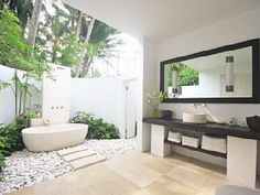 Beautiful Indoor Outdoor Bathroom Design Ideas and Villa Songket Bali Individual 6 Bathroom Designs Bathroom Indoor Outdoor Bathroom, Outdoor Baths, Outdoor Showers, Outdoor Tub, Tropical Bathroom, Bathroom Spa, White Bathroom, Bathroom Ideas, Dream Bathrooms