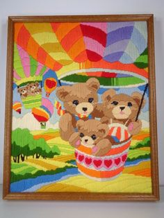 Finished Completed Long Stitch Teddy Bears Hot Air Balloons Horizons Reinardy  #MonarchHorizons