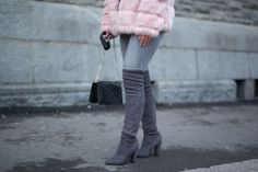 Delila Nevala Fashion blog, faux fur coat trend, how to style over the knee boots, Steve Madden