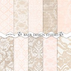 Champagne damask and lace digital papers, 300 dpi jpgs, instant download, scrapbook papers, digital background papers, wedding digital paper.
