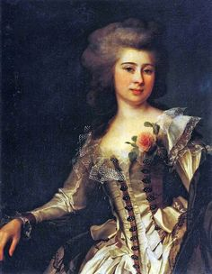Portrait of an unknown woman with a rose by Dmitry Levitzky, 1788