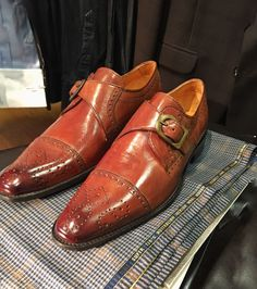 Fromer bovine leather monk Strap shoes