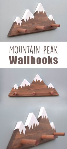 Great addition to woodland themed nursery and kids rooms! Mountain Peak Wallhooks, Woodland Nursery Decor, Woodland Decor, Mountain Wall Hook, Wooden Wall Hook for Kids #kidsroom #nursery #woodland #mountains #decor #ad #etsy