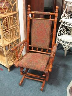 Great Antique Upholstered Rocker. From Vendor 579 In Booth 18. Priced At $150.00.  Available. ArmadilloAntique Furniture