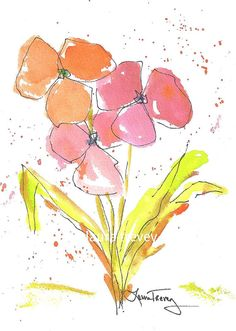 Spring flowers in watercolor