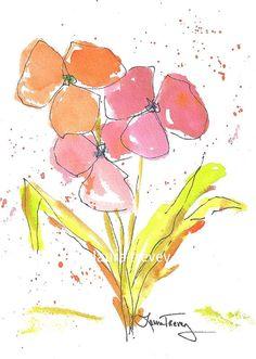 Spring flowers in watercolor