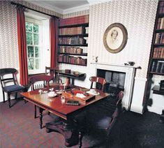Writers' rooms: Charlotte Bronte. Love the sparseness of the room. Something about those three chairs at the table makes it seem like she's inviting the characters to sit down, too.