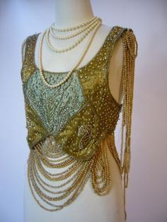 RARE-1910-Beautiful-1920s-Edwardian-Flapper-Pearl-Drape-Metal-Lame-Top-Blouse
