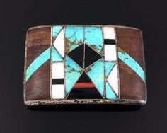 OLD NATIVE AMERICAN STERLING SILVER MOSAIC INLAY BELT BUCKLE