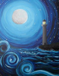 Check out Twisting Waves at The Celtic Knot - Paint Nite Cute Canvas Paintings, Easy Canvas Painting, Simple Acrylic Paintings, Diy Painting, Painting & Drawing, Canvas Art, Night Sky Painting, Lighthouse Painting, Pastel Art
