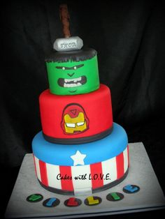 The Avengers Cake - Inspiration came fron Jay Brant from headsupstudios beautiful artwork.  Used with permission :)