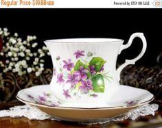 SALE Royal Minster Ribbed Teacup, English Tea Cup and Saucer Set, Violets