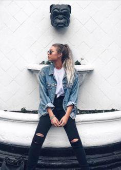 Alex Centomo's Nasty Gal Denim Jacket and Paige Denim Jeans