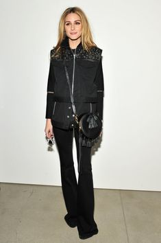 For Rebecca Minkoff's show, Olivia styled an all-black outfit with plenty of details.