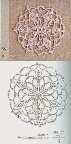 Patterns and motifs: Crocheted motif no. 112 Patterns and motifs: Crocheted motif no. 112 Patterns and motifs: Crocheted motif no. 112 Patterns and motifs: Crocheted motif no. Motif Mandala Crochet, Crochet Coaster Pattern, Crochet Snowflake Pattern, Crochet Mandala Pattern, Crochet Circles, Crochet Doily Patterns, Crochet Snowflakes, Crochet Chart, Crochet Squares