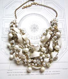 Chunky Bridal Pearl Vintage Wedding Bib Statement Necklace Ribbon & Pearl Gold Vintage Flower Brooch - Pearls, Pearls, Pearls Necklace. $198.00, via Etsy.