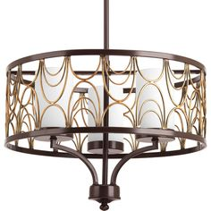 Features:  -Cirrine collection.  -Hand formed arching elements.  -Etched white glass complements the artistic frame.  -Artistic painted finish that feathers from a rich bronze tone to a vintage brass