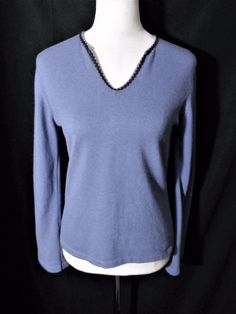 NWOT CASHMERE STUDIO MADE IN SCOTLAND Sz 2/M LAVENDER 100% FINE CASHMERE SWEATER #Bloomingdales #VNeck #Casual