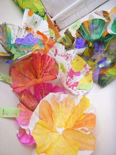 Flower Mural. Watercolors on really REALLy big coffee filters. Photo taken by Ray C.