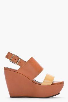 Marni Tan And Beige Leather Wedge Sandals