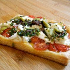 Tomato Mozzarella Tart - Puff pastry topped with tomatoes, fresh mozzarella and pesto